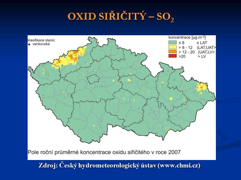 OXID SIŘIČITÝ – SO 2 Zdroj: Český hydrometeorologický ústav (www.chmi.cz)