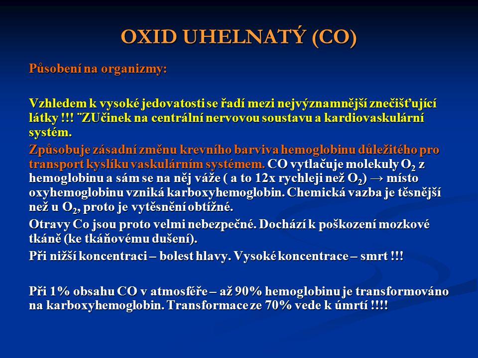 OXID UHELNATÝ (CO) Působení na organizmy: Vzhledem k vysoké jedovatosti se řadí mezi nejvýznamnější znečišťující látky !!.