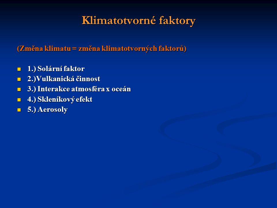 Klimatotvorné faktory (Změna klimatu = změna klimatotvorných faktorů) 1.) Solární faktor 1.) Solární faktor 2.)Vulkanická činnost 2.)Vulkanická činnost 3.) Interakce atmosféra x oceán 3.) Interakce atmosféra x oceán 4.) Skleníkový efekt 4.) Skleníkový efekt 5.) Aerosoly 5.) Aerosoly