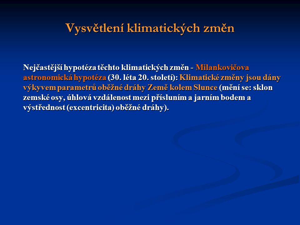 Vysvětlení klimatických změn Nejčastější hypotéza těchto klimatických změn - Milankovičova astronomická hypotéza (30.
