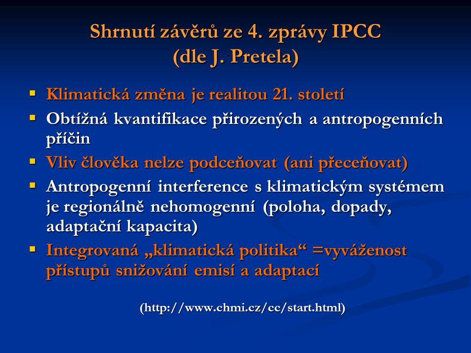 Shrnutí závěrů ze 4. zprávy IPCC (dle J. Pretela)  Klimatická změna je realitou 21.
