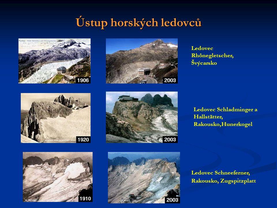 Ústup horských ledovců Ledovec Rhônegletscher, Švýcarsko Ledovec Schladminger a Hallstätter, Rakousko,Hunerkogel Ledovec Schneeferner, Rakousko, Zugspitzplatt
