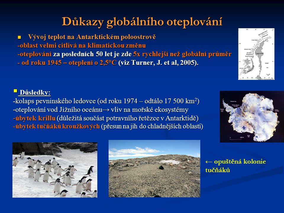 Důkazy globálního oteplování Vývoj teplot na Antarktickém poloostrově Vývoj teplot na Antarktickém poloostrově -oblast velmi citlivá na klimatickou změnu -oteplování za posledních 50 let je zde 5x rychlejší než globální průměr - od roku 1945 – oteplení o 2,5°C (viz Turner, J.