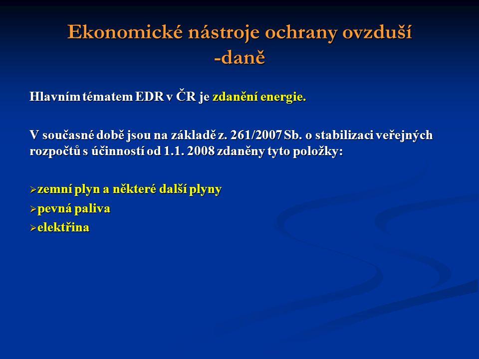 Ekonomické nástroje ochrany ovzduší -daně Hlavním tématem EDR v ČR je zdanění energie.