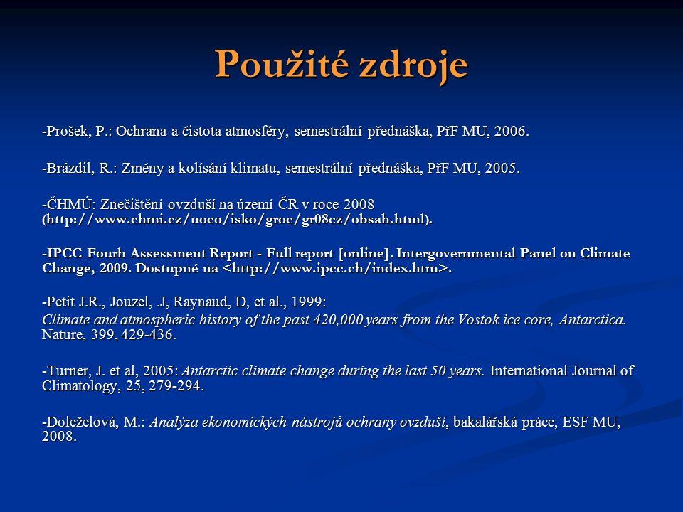 Použité zdroje -Prošek, P.: Ochrana a čistota atmosféry, semestrální přednáška, PřF MU, 2006.