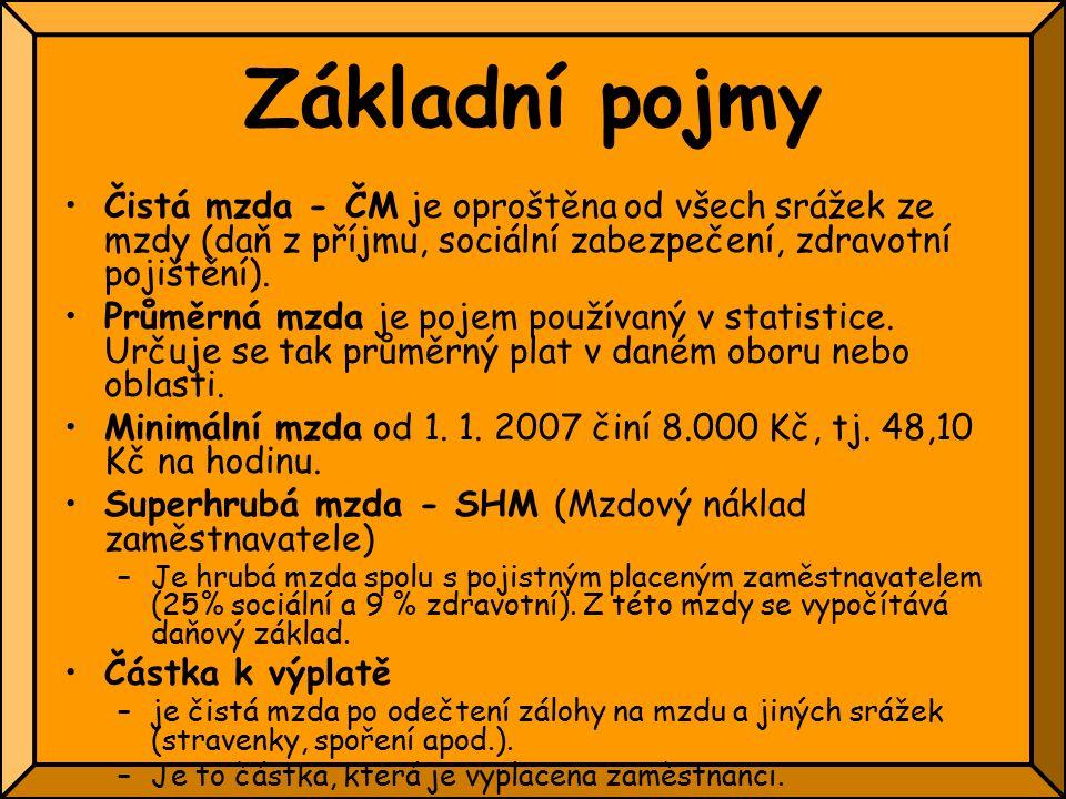 Základní pojmy Čistá mzda - ČM je oproštěna od všech srážek ze mzdy (daň z příjmu, sociální zabezpečení, zdravotní pojištění).