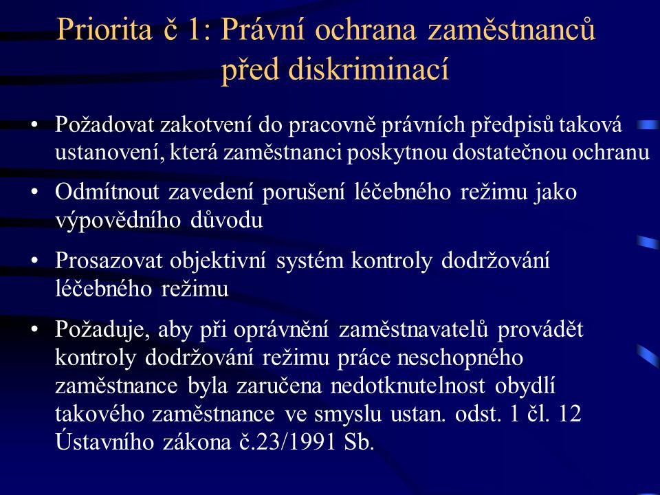 Priorita č 1: Právní ochrana zaměstnanců před diskriminací Požadovat zakotvení do pracovně právních předpisů taková ustanovení, která zaměstnanci posk
