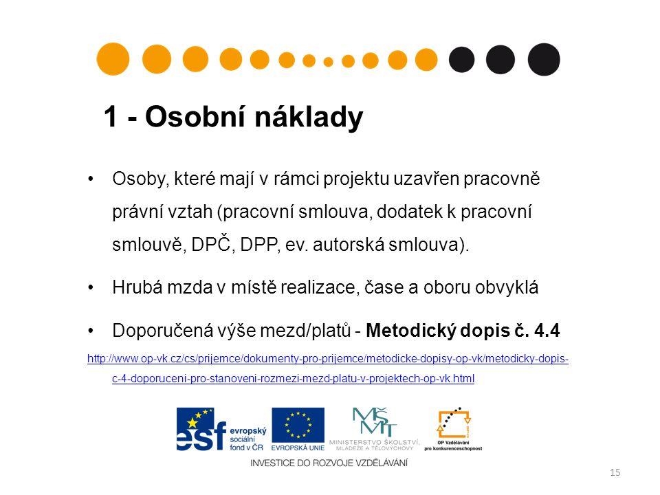 1 - Osobní náklady 15 Osoby, které mají v rámci projektu uzavřen pracovně právní vztah (pracovní smlouva, dodatek k pracovní smlouvě, DPČ, DPP, ev. au