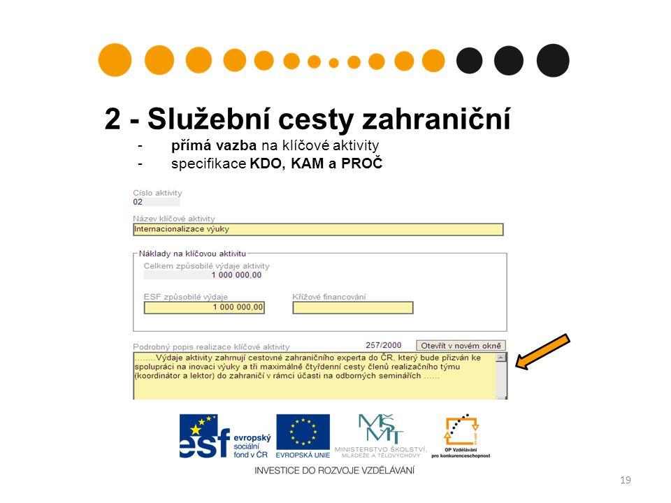 2 - Služební cesty zahraniční - přímá vazba na klíčové aktivity -specifikace KDO, KAM a PROČ 19