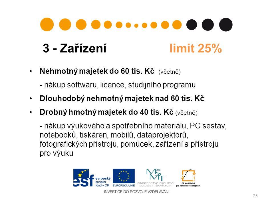 3 - Zařízení limit 25% 23 Nehmotný majetek do 60 tis. Kč (včetně) - nákup softwaru, licence, studijního programu Dlouhodobý nehmotný majetek nad 60 ti