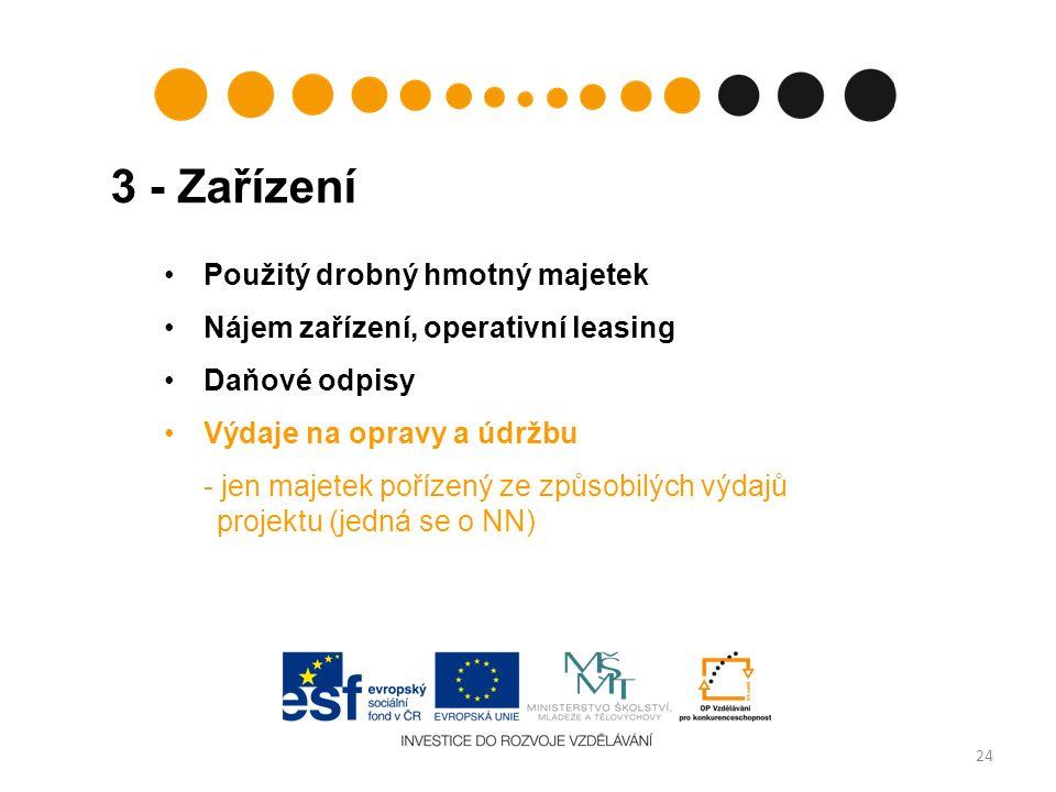 3 - Zařízení 24 Použitý drobný hmotný majetek Nájem zařízení, operativní leasing Daňové odpisy Výdaje na opravy a údržbu - jen majetek pořízený ze způsobilých výdajů projektu (jedná se o NN)
