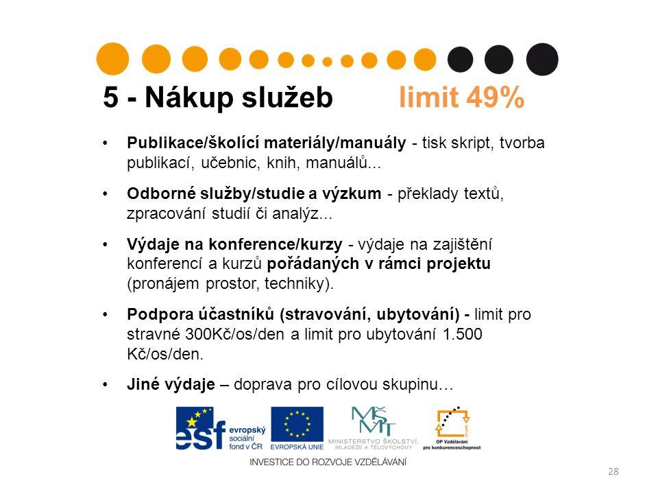 5 - Nákup služeb limit 49% 28 Publikace/školící materiály/manuály - tisk skript, tvorba publikací, učebnic, knih, manuálů... Odborné služby/studie a v