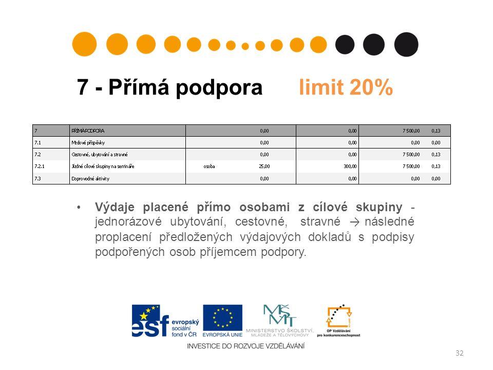 7 - Přímá podpora limit 20% Výdaje placené přímo osobami z cílové skupiny - jednorázové ubytování, cestovné, stravné → následné proplacení předložených výdajových dokladů s podpisy podpořených osob příjemcem podpory.