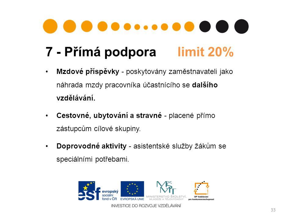 7 - Přímá podpora limit 20% 33 Mzdové příspěvky - poskytovány zaměstnavateli jako náhrada mzdy pracovníka účastnícího se dalšího vzdělávání. Cestovné,