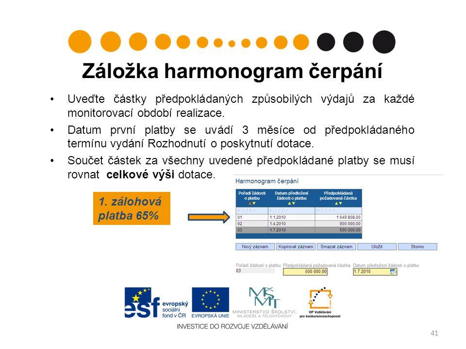 Záložka harmonogram čerpání Uveďte částky předpokládaných způsobilých výdajů za každé monitorovací období realizace.