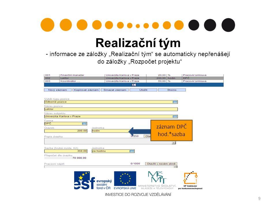 """Realizační tým - informace ze záložky """"Realizační tým"""" se automaticky nepřenášejí do záložky """"Rozpočet projektu"""" 9 záznam DPČ hod.*sazba"""