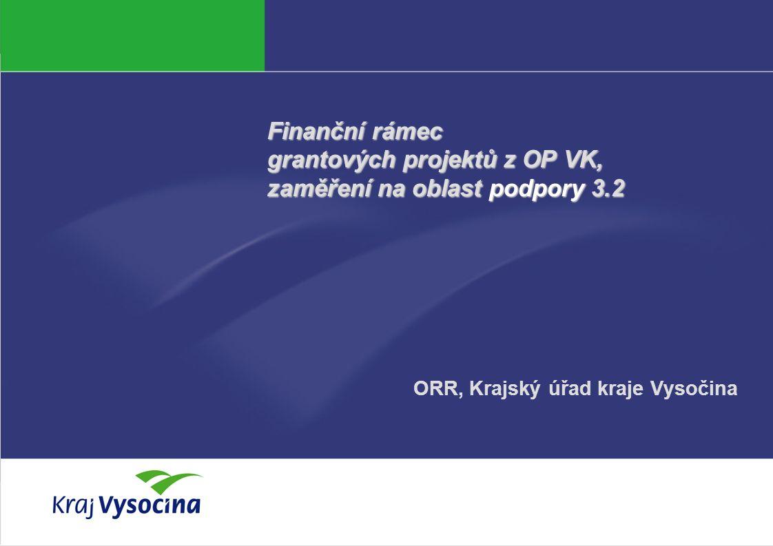 Petra Němcová Finanční rámec grantových projektů z OP VK, zaměření na oblast podpory 3.2 ORR, Krajský úřad kraje Vysočina