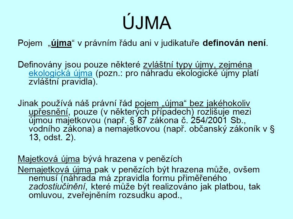 """ÚJMA Pojem """"újma v právním řádu ani v judikatuře definován není."""