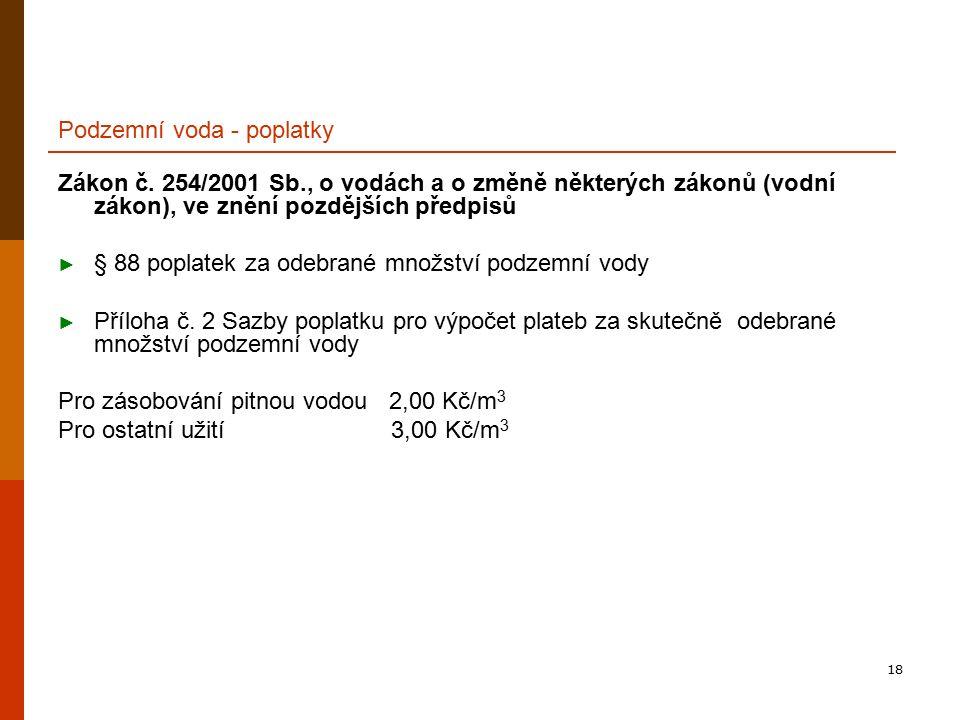 18 Podzemní voda - poplatky Zákon č.