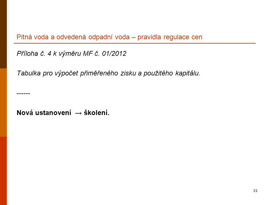 31 Pitná voda a odvedená odpadní voda – pravidla regulace cen Příloha č. 4 k výměru MF č. 01/2012 Tabulka pro výpočet přiměřeného zisku a použitého ka