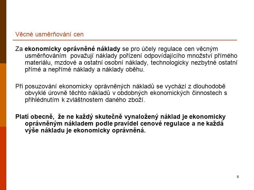 39 Hlavní problémové okruhy █ Sjednávání cen I. § 1 odst.