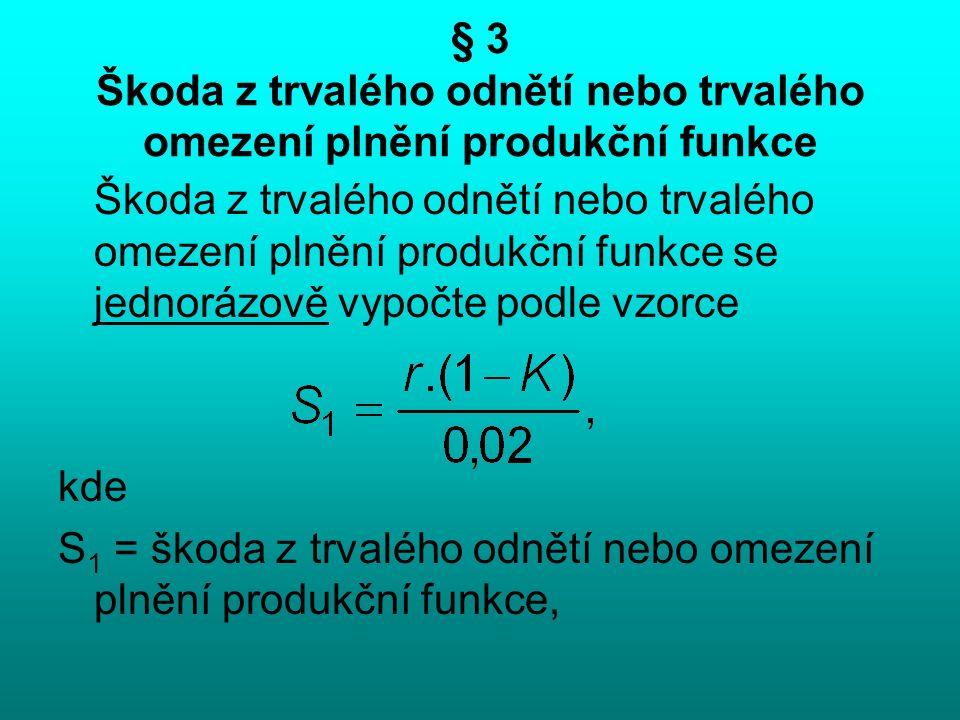 § 3 Škoda z trvalého odnětí nebo trvalého omezení plnění produkční funkce Škoda z trvalého odnětí nebo trvalého omezení plnění produkční funkce se jednorázově vypočte podle vzorce kde S 1 = škoda z trvalého odnětí nebo omezení plnění produkční funkce,