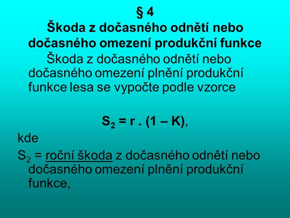 § 4 Škoda z dočasného odnětí nebo dočasného omezení produkční funkce Škoda z dočasného odnětí nebo dočasného omezení plnění produkční funkce lesa se vypočte podle vzorce S 2 = r.