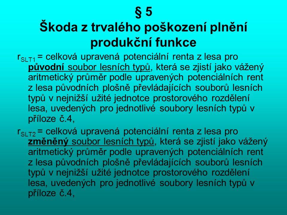 § 5 Škoda z trvalého poškození plnění produkční funkce r SLT1 = celková upravená potenciální renta z lesa pro původní soubor lesních typů, která se zj