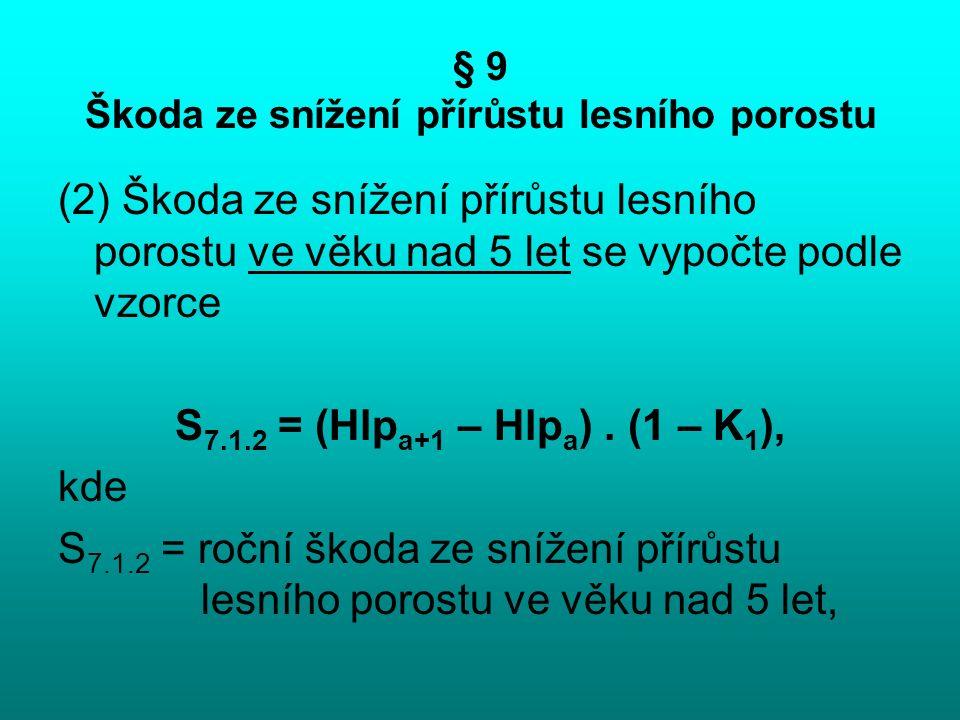 § 9 Škoda ze snížení přírůstu lesního porostu (2) Škoda ze snížení přírůstu lesního porostu ve věku nad 5 let se vypočte podle vzorce S 7.1.2 = (Hlp a+1 – Hlp a ).