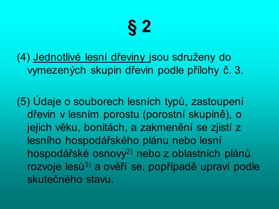 § 2 (4) Jednotlivé lesní dřeviny jsou sdruženy do vymezených skupin dřevin podle přílohy č.