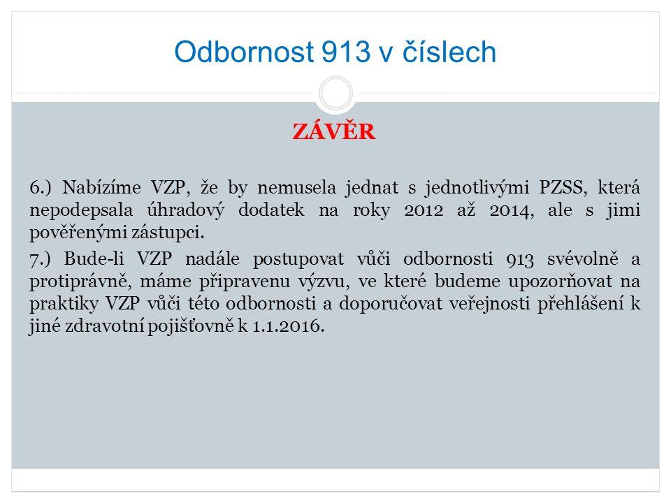 Odbornost 913 v číslech ZÁVĚR 6.) Nabízíme VZP, že by nemusela jednat s jednotlivými PZSS, která nepodepsala úhradový dodatek na roky 2012 až 2014, ale s jimi pověřenými zástupci.