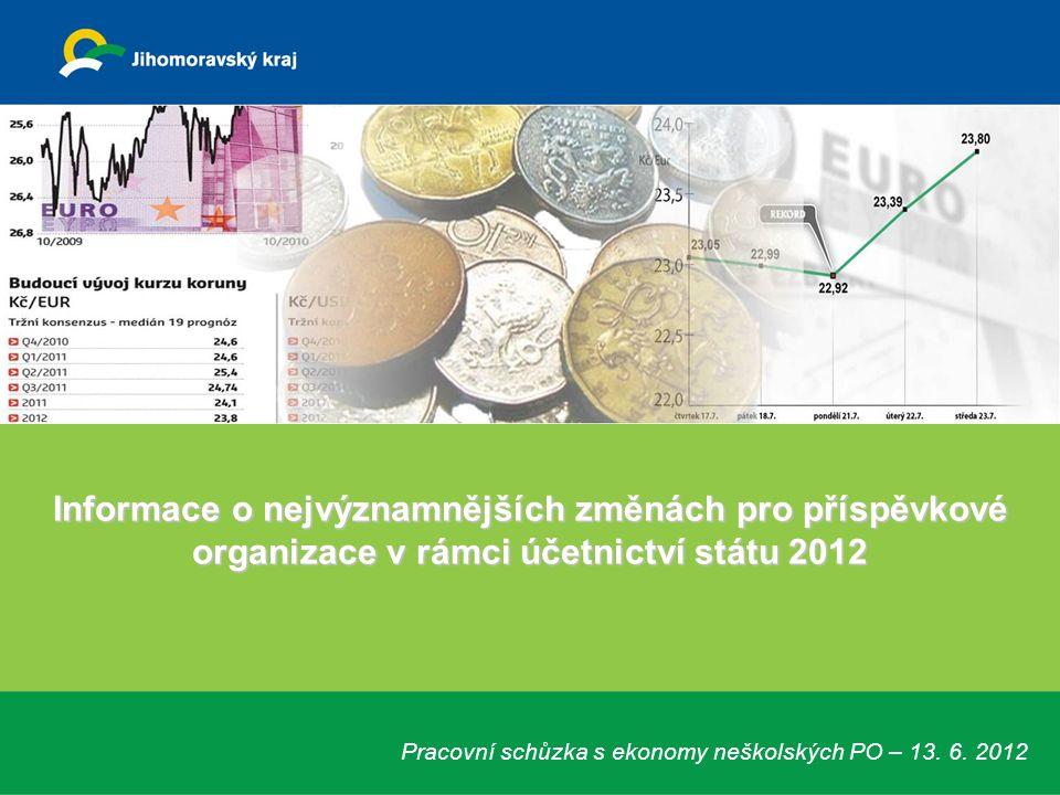 Informace o nejvýznamnějších změnách pro příspěvkové organizace v rámci účetnictví státu 2012 Pracovní schůzka s ekonomy neškolských PO – 13. 6. 2012