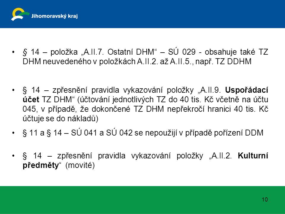 """§ 14 – položka """"A.II.7. Ostatní DHM"""" – SÚ 029 - obsahuje také TZ DHM neuvedeného v položkách A.II.2. až A.II.5., např. TZ DDHM § 14 – zpřesnění pravid"""