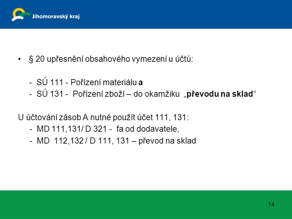 """§ 20 upřesnění obsahového vymezení u účtů: - SÚ 111 - Pořízení materiálu a - SÚ 131 - Pořízení zboží – do okamžiku """"převodu na sklad U účtování zásob A nutné použít účet 111, 131: - MD 111,131/ D 321 - fa od dodavatele, - MD 112,132 / D 111, 131 – převod na sklad 14"""