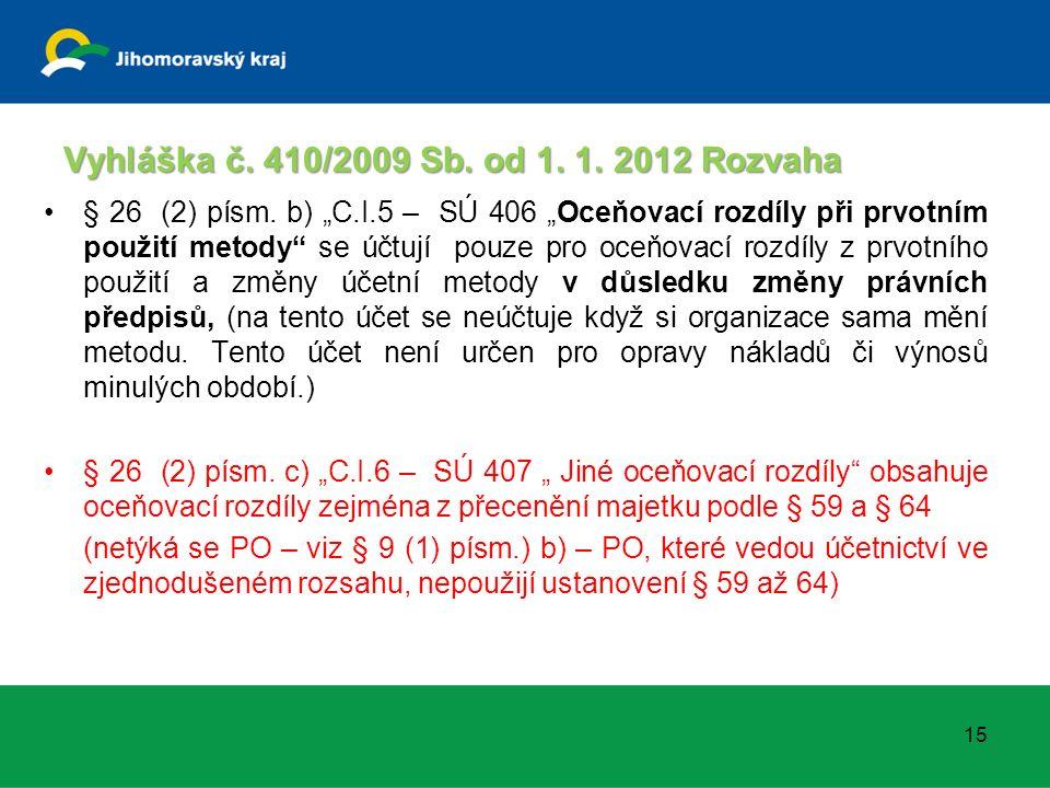 """Vyhláška č. 410/2009 Sb. od 1. 1. 2012 Rozvaha § 26 (2) písm. b) """"C.I.5 – SÚ 406 """"Oceňovací rozdíly při prvotním použití metody"""" se účtují pouze pro o"""
