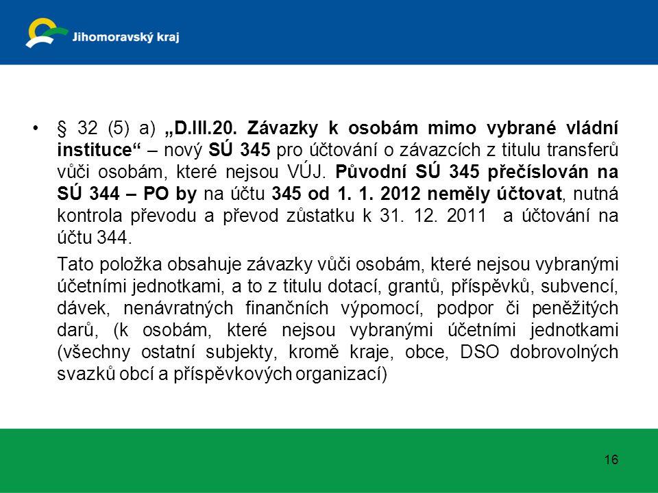 """§ 32 (5) a) """"D.III.20. Závazky k osobám mimo vybrané vládní instituce"""" – nový SÚ 345 pro účtování o závazcích z titulu transferů vůči osobám, které ne"""
