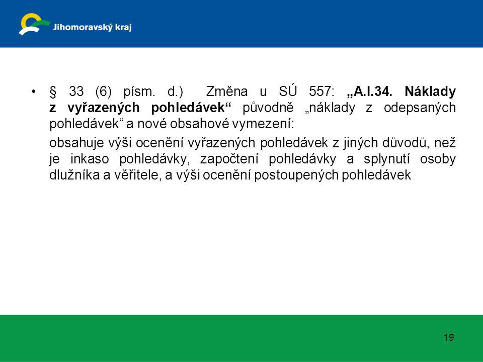 """§ 33 (6) písm. d.) Změna u SÚ 557: """"A.I.34. Náklady z vyřazených pohledávek"""" původně """"náklady z odepsaných pohledávek"""" a nové obsahové vymezení: obsah"""