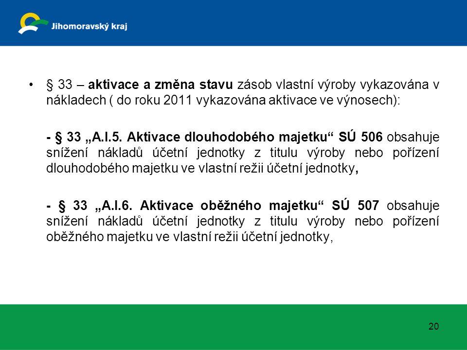 """§ 33 – aktivace a změna stavu zásob vlastní výroby vykazována v nákladech ( do roku 2011 vykazována aktivace ve výnosech): - § 33 """"A.I.5. Aktivace dlo"""