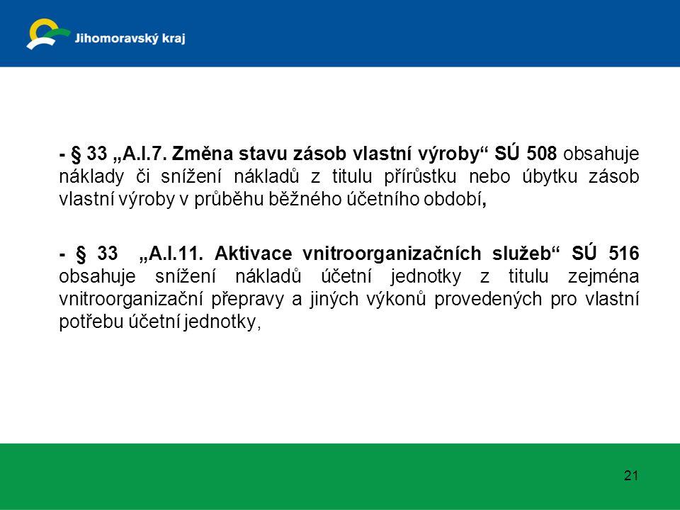 """- § 33 """"A.I.7. Změna stavu zásob vlastní výroby"""" SÚ 508 obsahuje náklady či snížení nákladů z titulu přírůstku nebo úbytku zásob vlastní výroby v průb"""