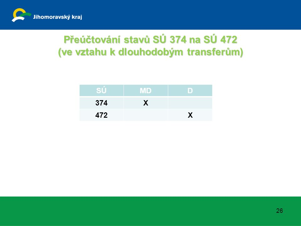 Přeúčtování stavů SÚ 374 na SÚ 472 (ve vztahu k dlouhodobým transferům) SÚMDD 374X 472X 26