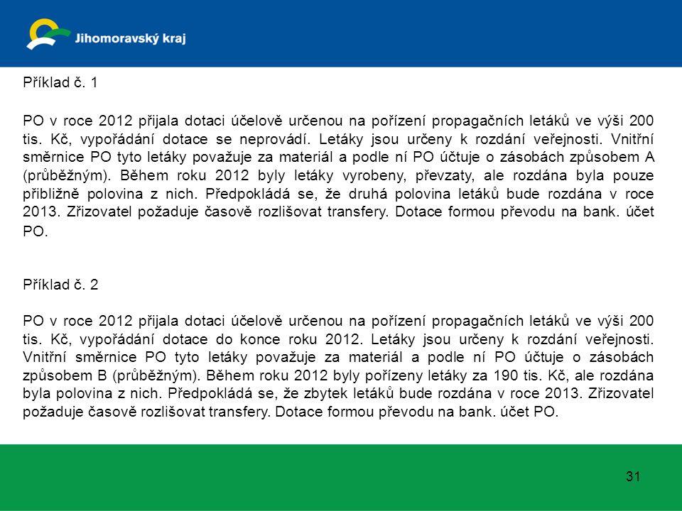 Příklad č. 1 PO v roce 2012 přijala dotaci účelově určenou na pořízení propagačních letáků ve výši 200 tis. Kč, vypořádání dotace se neprovádí. Letáky