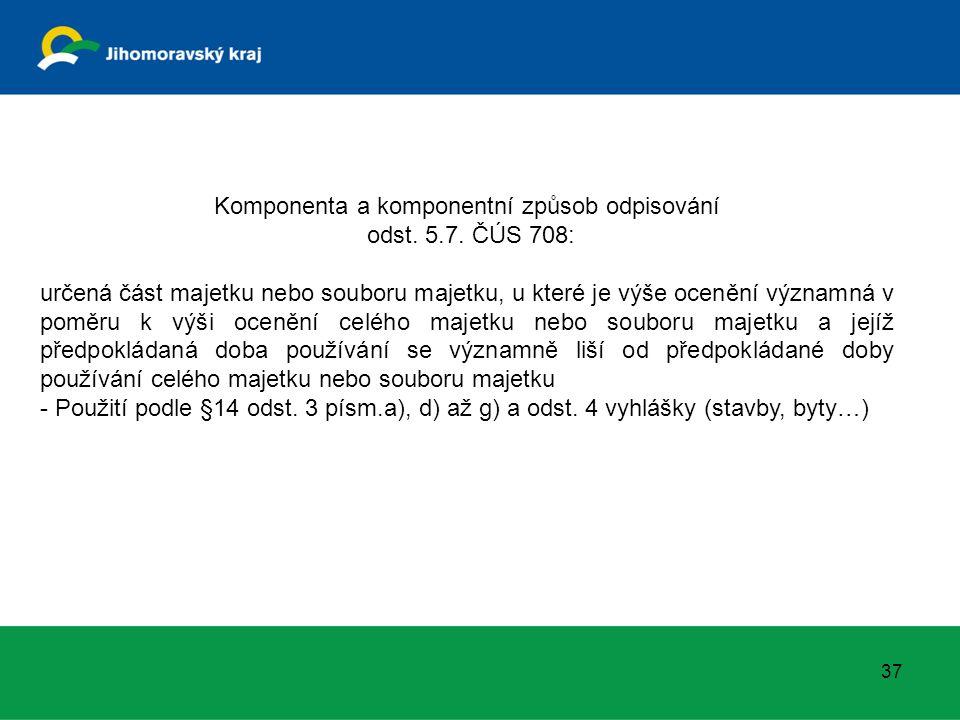 Komponenta a komponentní způsob odpisování odst. 5.7. ČÚS 708: určená část majetku nebo souboru majetku, u které je výše ocenění významná v poměru k v