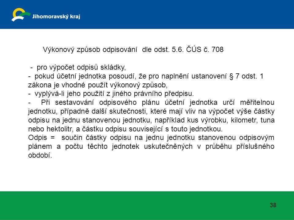 Výkonový způsob odpisování dle odst. 5.6. ČÚS č. 708 - pro výpočet odpisů skládky, - pokud účetní jednotka posoudí, že pro naplnění ustanovení § 7 ods