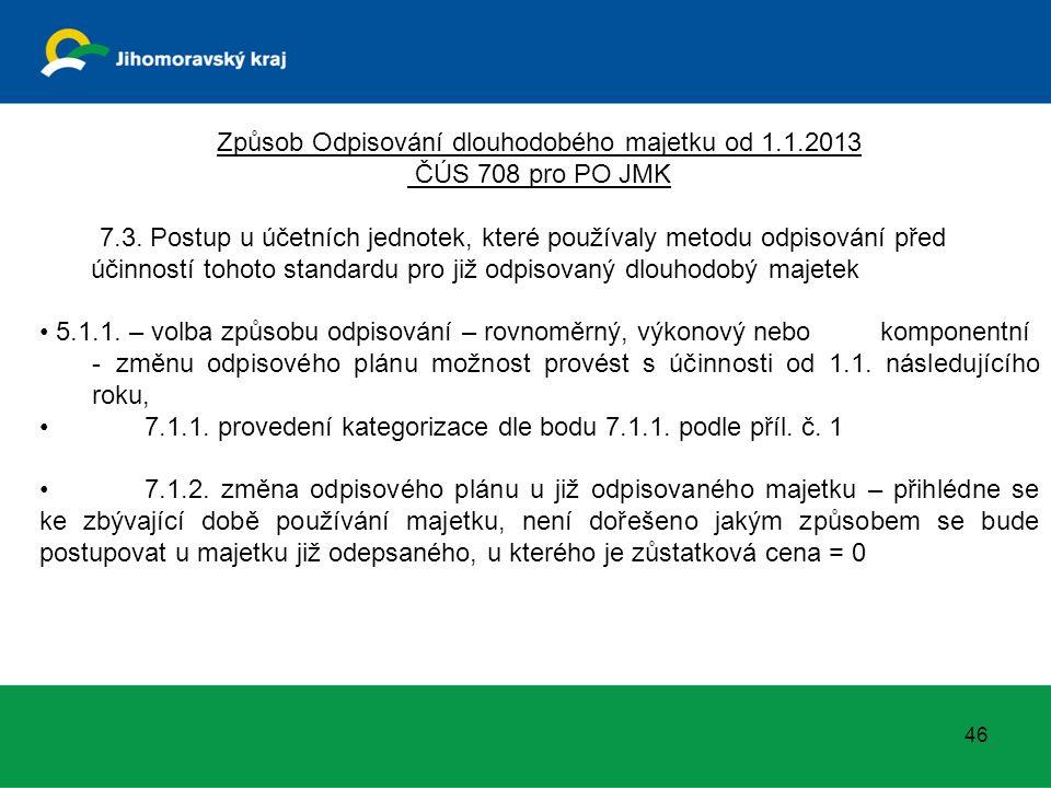 Způsob Odpisování dlouhodobého majetku od 1.1.2013 ČÚS 708 pro PO JMK 7.3. Postup u účetních jednotek, které používaly metodu odpisování před účinnost