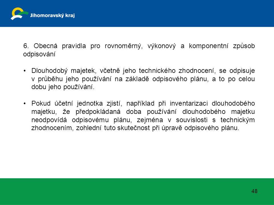6. Obecná pravidla pro rovnoměrný, výkonový a komponentní způsob odpisování Dlouhodobý majetek, včetně jeho technického zhodnocení, se odpisuje v průb