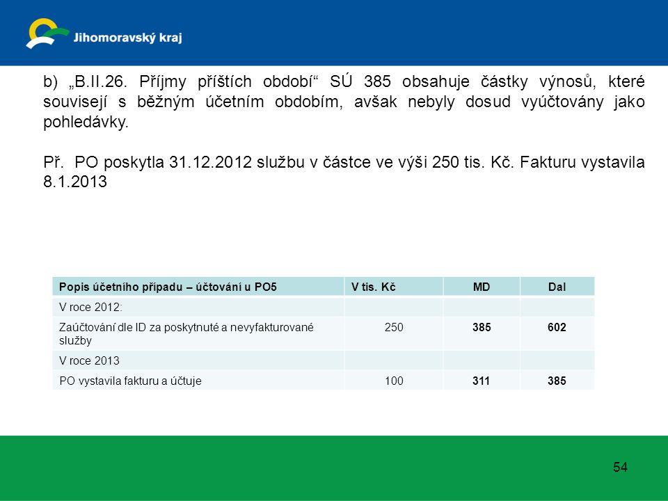 Popis účetního případu – účtování u PO5V tis. KčMDDal V roce 2012: Zaúčtování dle ID za poskytnuté a nevyfakturované služby 250385602 V roce 2013 PO v
