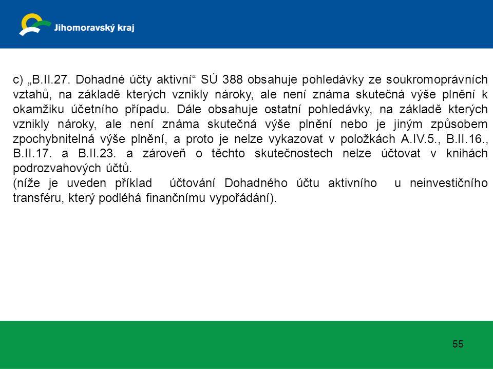 """c) """"B.II.27. Dohadné účty aktivní"""" SÚ 388 obsahuje pohledávky ze soukromoprávních vztahů, na základě kterých vznikly nároky, ale není známa skutečná v"""