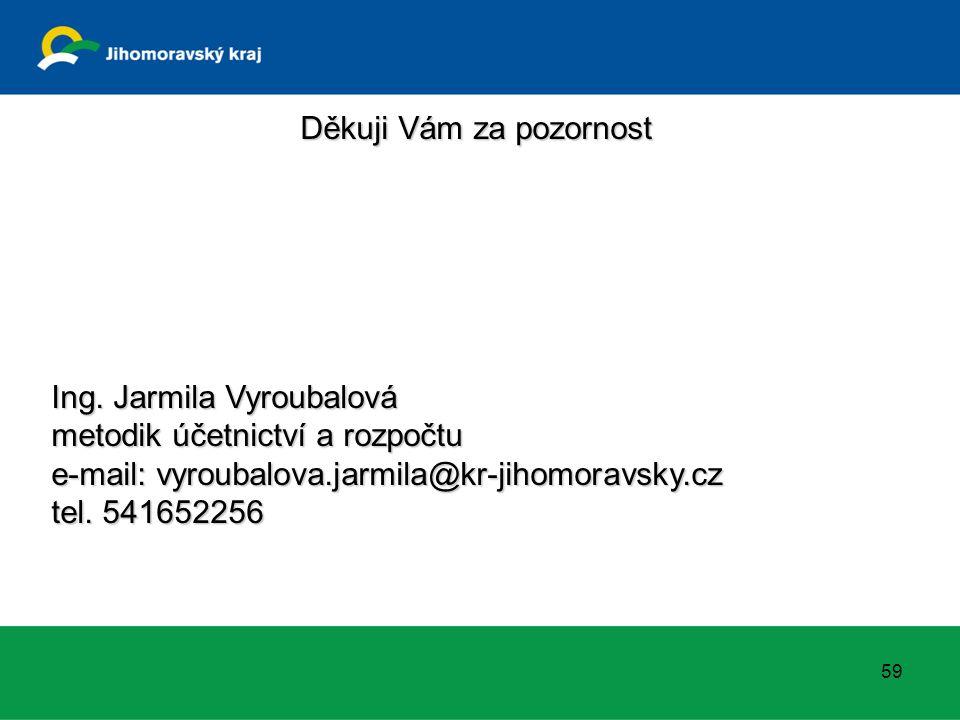 Děkuji Vám za pozornost Ing. Jarmila Vyroubalová metodik účetnictví a rozpočtu e-mail: vyroubalova.jarmila@kr-jihomoravsky.cz tel. 541652256 59