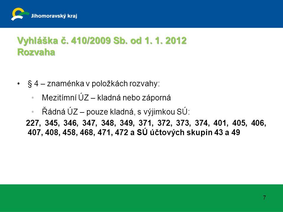 Vyhláška č. 410/2009 Sb. od 1. 1. 2012 Rozvaha § 4 – znaménka v položkách rozvahy: Mezitímní ÚZ – kladná nebo záporná Řádná ÚZ – pouze kladná, s výjim