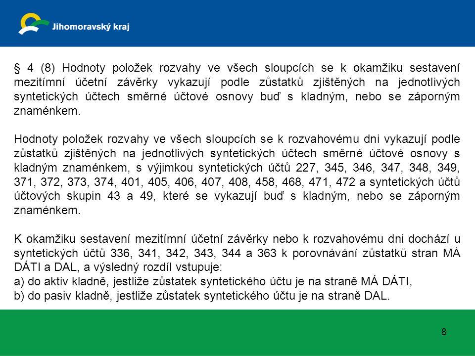 § 4 (8) Hodnoty položek rozvahy ve všech sloupcích se k okamžiku sestavení mezitímní účetní závěrky vykazují podle zůstatků zjištěných na jednotlivých
